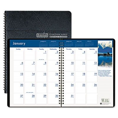 House of DoolittleTM - Earthscapes Full-Color Monthly Planner, 8-1/2 x 11, Black - Sold As 1 Each - Go eco with EarthscapesTM, a recycled monthly planner. -