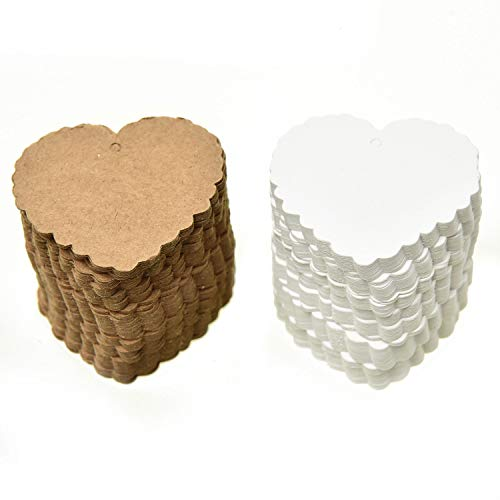 Monrocco 200 Pcs Heart Shaped Kraft Paper Tags Blank Flower Scalloped Hang Tag Labels Gift Tags Price Tags,White and Brown Color