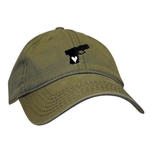 Bang Bang Apparel 'Gun Lover' Pistol Embroidered Adjustable Dad Hat (Militray Green with Black)