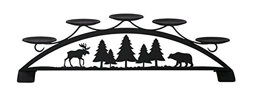 Iron Moose & Bear Table Top Center Piece Candle Holder- Heavy Duty Metal Candle Holder