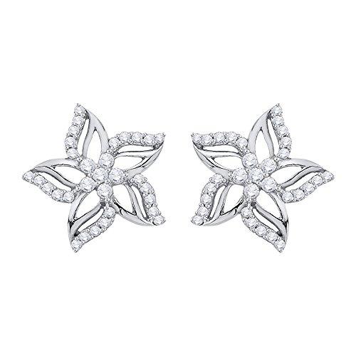 KATARINA Diamond Fashion Pierced Design Floral Earrings in 14K White Gold (1/3 cttw, G-H, ()