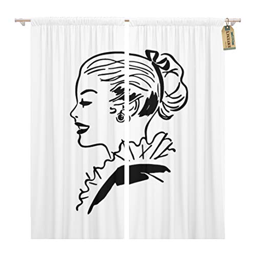 Golee Window Curtain 1940S Ponytail Gal Retro 1950S 40S 50S Americana Beautiful Home Decor Rod Pocket Drapes 2 Panels Curtain 104 x 96 inches -