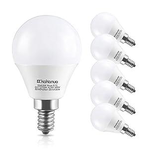 Kakanuo LED Light Bulbs Candelabra Base 60W Equivalent,E12 Base Warm White 2700K Candle Light,LED Bulbs for Ceiling Fan Decorative G45 LED Globe Bulbs,Non-Dimmable(Pack of 6)