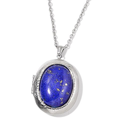 Lapis Lazuli Locket (Lapis Lazuli Stainless Steel Locket Pendant With Chain 24 in)