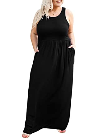 YONYWA Women Summer Sleeveless Casual Long Dresses Tank Top Plus ...
