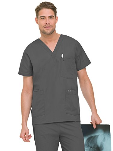 Nursing Scrubs Landau - Landau Essentials Men's 5-Pocket Scrub Top Steel Grey M