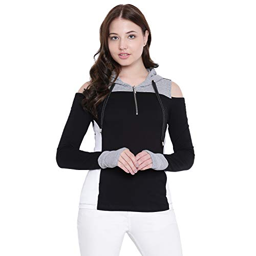 TEXCO Hooded Black and Grey Full Sleeves Women Tops