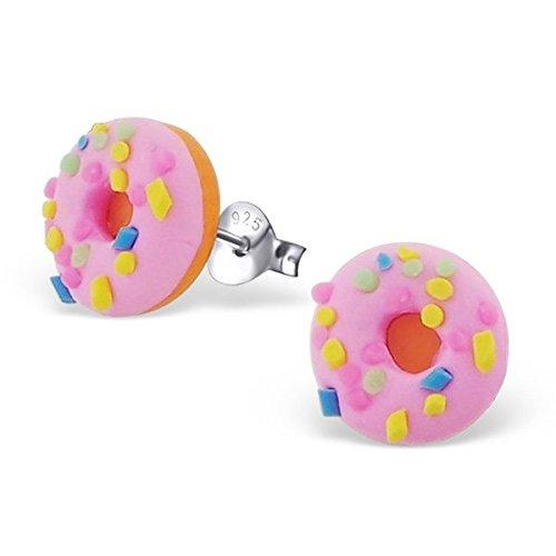 Paire de Petit rond fait main Donut Boucles d'oreilles ( argent sterling avec 3D Fimo ) Discrète : 1.0cm x 1.0cm - Livré dans un coffret cadeau