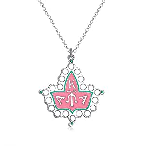 KINGSIN AKA Sorority Gifts, Pink & Green Alpha Kappa Alpha Paraphernalia Ivy Leaf Pendant Necklace Silver Long Chain for Women