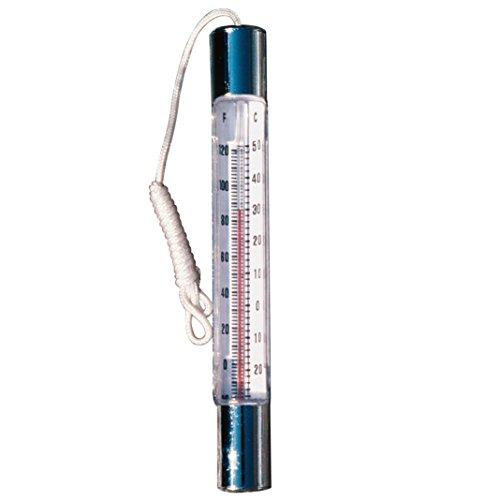 Poolmaster 18309  Chrome/Brass Thermometer - Basic (Chrome Pool Thermometer)