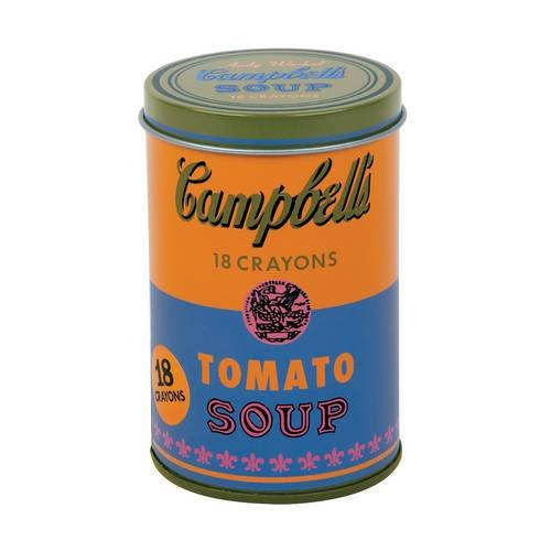 Mudpuppy Andy Warhol Soup Can Crayons, Orange, Includes 18 Crayons Inspired by Iconic Andy Warhol Piece, Warhol-Inspired Crayon Colors in Orange and Blue Tin, Ideal Art Lovers Gift ()
