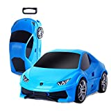 Children's Trolley Case, Children Can Ride A Car Cartoon Suitcase, Drag The Suitcase (18 Inch) (Color : Blue, Size : M)