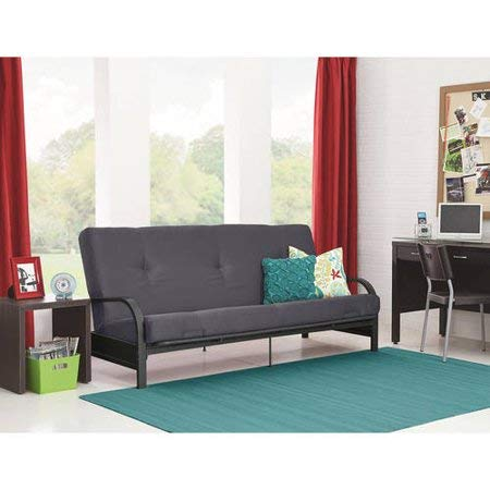 Mainstay.. Metal Arm and Frame Quickly Converts Sofa to a Full-Size Sleeper Futon Gray Color + Free Assorted Color Toss Pillow