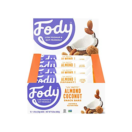 Fody Food Co, Almond Coconut Bars, Low FODMAP and Gut Friendly, Gluten and Lactose Free, 12 Pack of Bars