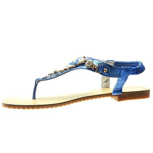 Angkorly - Chaussure Mode Sandale Tong salomés femme bijoux strass diamant fantaisie Talon plat 1.5 CM - Bleu