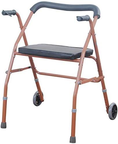 高さ調節可能なウォーキングエイドシートとホイール付き高齢者ウォーカー、高齢者用ウォーカーシートと2つのホイール付き軽量折りたたみ式、高齢者向け歩行補助器具