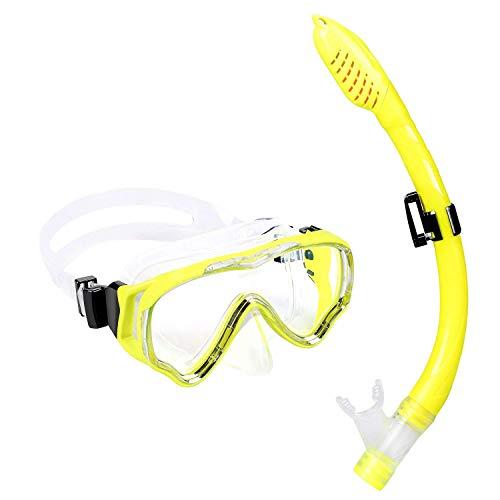 (UPhitnis Kids Seaview Snorkel Set - Dry Top Snorkel Mask with Big Eyes for Kids, Childs, Boys, Girls - Easybreath Snorkeling Mask for Snorkeling,)