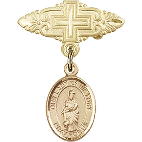14kt Yellow Gold Baby Badge with Our Lady of Victory Charm and Badge Pin with Cross 1 X 3/4 inches by Unknown