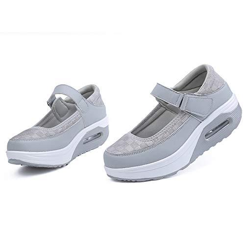 ZHZNVX Zapatos de Mujer Tulle/PU (Poliuretano) Spring & Summer Comfort Sneakers Heel Flat Heel Toe Hebilla Negro/Gris / Fucsia Gray