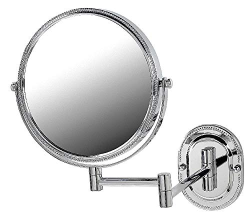 SeeAll 8 Makeup Vanity Mirror, Polished Chrome, Dual Arm, Wall Mount, 7X Optics by SeeAll