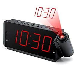 DreamSky Projection Alarm Clock Radio with USB Charging Port and FM Radio, 2 Inches Large Led Number Display with Dimmer, Adjustable Alarm Volume, Snooze, Sleep Timer,12 Hr Display, Plug in Clock.