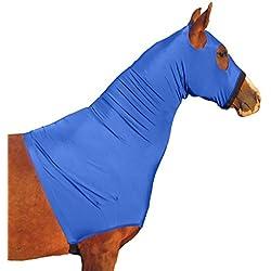 Derby Originals Lycra Horse Hoods with Zipper, Blue, Large