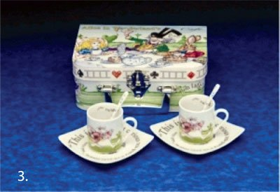 Alice In Wonderland Tea Set for Two 3oz Cups, Saucers and Spoons Retired Pattern - Alice Pattern