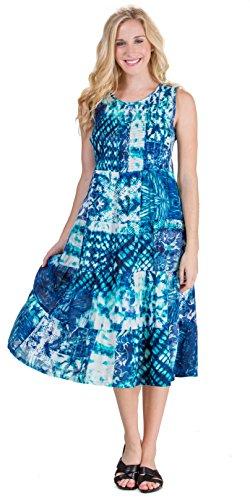 (La Cera Rayon Sleeveless Semi-Sheer Long Beach Dress - Cool Reflections (Blue/Teal/White, X-Large (18-20)))