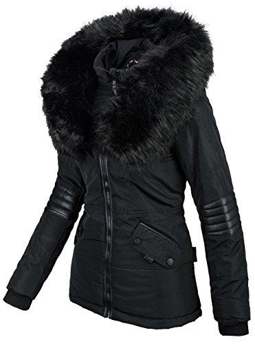 nbsp;b369 In Stile Da Pelliccia – Sintetica Navahoo Donna nbsp;giacca Nero Invernale Parka R6dwx8