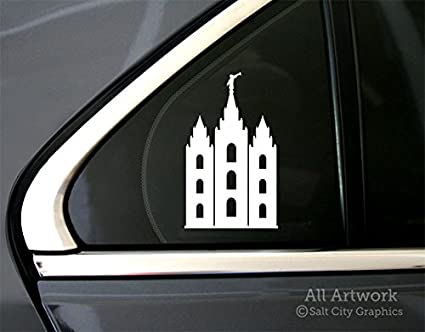 5 inches Tall, White Car Window Decal Salt Lake LDS Temple Silhouette Decal Mormon Decal