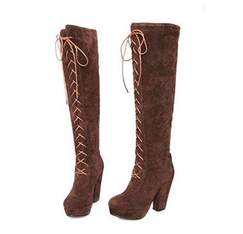 Hetao Dames Marron Fête Brown Hauts Bottes Sur Chaussures De Femmes Talons Mariage Chevalier Mode Cuissardes Cadeau Grande Taille 00Trzqw