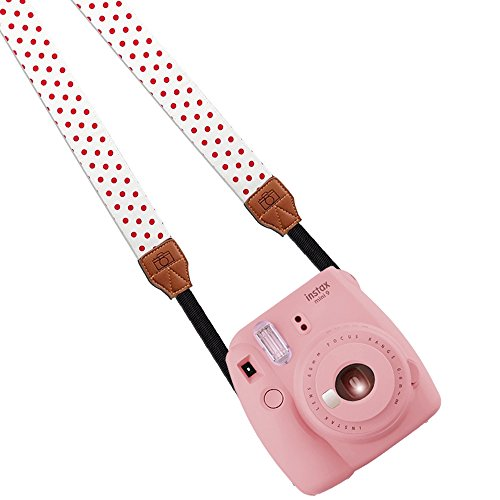 Katia Camera Shoulder Neck Strap Belt for Fujifilm Instax Mini 25/ Mini 50/ Mini7/ Mini 8/ Mini 90 Instant Film Camera, Polaroid Socialmatic Camera, Polaroid Z2300 Instant Camera, Polaroid Z340 Instant Digital Camera, Polaroid PIC300 Instant Camera, Dslr, Slr, Digital Camera for Nikon, Canon, Sony, Pentax, Samsung(White/ red dots)