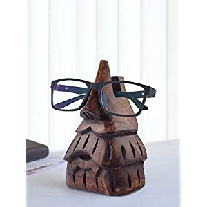 Store Indya Wooden Eyeglass Spectacle Holder Handmade Nose Shaped Beard Stand for Office Desk Home Décor Gifts