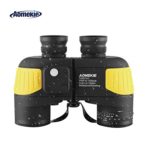 Aomekie Marine Binoculars for Adults 7X50 with Night Vision Compass Rangefinder Fogproof Waterproof BAK4 Prism Lens Military Binocular for Navigation Boating Birdwatching and Hunting (Army Yellow)