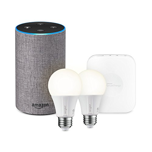 Echo (2nd Generation) - Heather Gray Fabric + SmartThings Hub + 2 Element Smart Bulbs by Samsung SmartThings