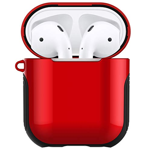 Airpods Case Cover Skin - Romozi Airpod Case with Lanyard Ultral Hybrid Design, Air Pods Case is Silicone and Hard Cover Dual Layer Protection Airpod Skins for Apple Airpods Accessories (Red)