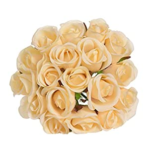 Fine Artificial Flowers, Fake Flowers Silk Artificial Roses 18 Heads Bridal Wedding Bouquet for Home Garden Party Wedding Decoration 83