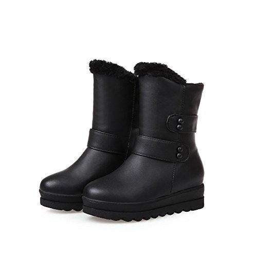 Women's Low Mid Black Pull Boots On Closed Heels Soft Toe Top Allhqfashion Round Material H6SdUnTqHW