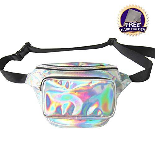 Dolores Women Fashion Hologram Laser Waist Bag Fanny Pack Zipper Waterproof Chest Pack Bum Bag Beach Purse, Silver