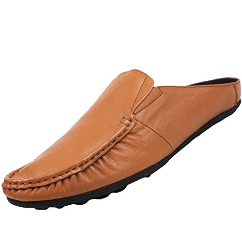 Leather Brown Scuff Shoes Slippers Mens Backless Santimon q4tzq