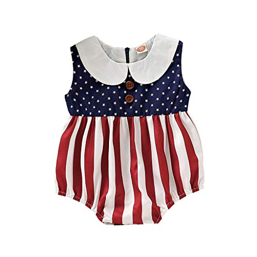 Hstore Baby Girls Patriotic Romper, 2019 New Infant Baby Girls 4th of July Stars Striped Bodysuit Red