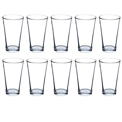 Beer Pint Glasses 16 Ounce Set of 10, Bulk Heavy Duty Glassware for Restaurant, Bar, Clear