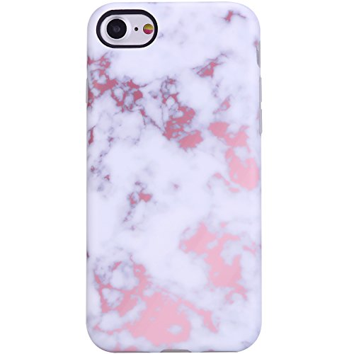 VIVIBIN Marble iPhone 7 Case,iPhone 8 Case for Women,Cute Champagne White Marble for Girls Clear Bumper Soft Silicone Rubber Matte TPU Best Protective Cover Slim Fit Phone Case for iPhone 7/iPhone 8