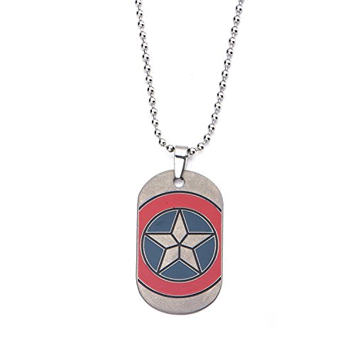 Marvel Captain America Civil War Shield Emblem Dog Tag Stainless Steel Necklace (Chips The War Dog Movie)