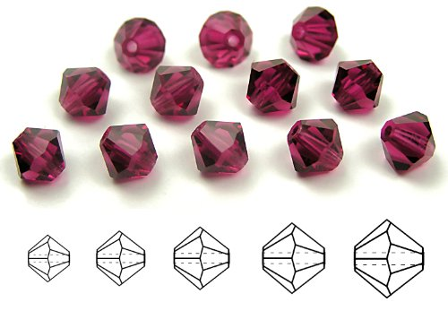 3mm Fuchsia, Czech MC Rondell Bead (Bicone, Diamond Shape), 36 (Fuchsia Bicone)