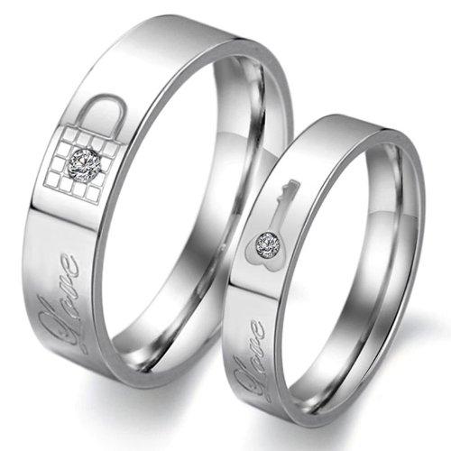 Pair Promise Rings - Fate Love Jewelry 2pcs Stainless Steel Promise Rings for Couple with Lock and Key Pattern Silver(pack in Box)