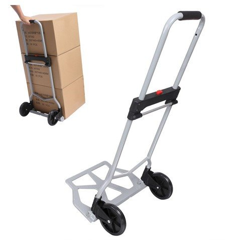 Portable Trolley Dolley Heavy Duty Luggage Carts Folding Hand Truck [US Stock] ()