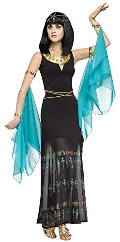 Ladies Sexy Long Black Egyptian Queen of The Nile Cleopatra Fancy Dress Costume Outfit (UK 10-12)