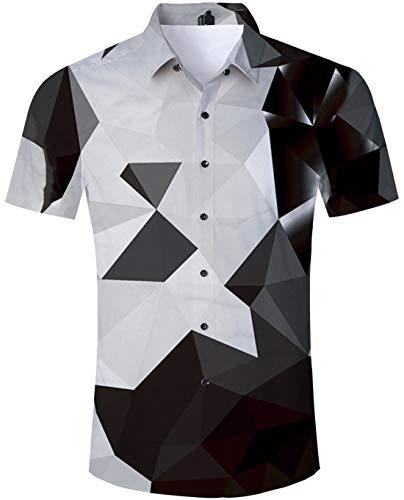 - Geometric Shirt Men Tropical Beach Theme Authentic Hawaiian Island Shirt Black White Geometry Math Triangle Pattern Naughty Digital Prints Brown Black Short Sleeve Shirt Birthday Button Down Shirt