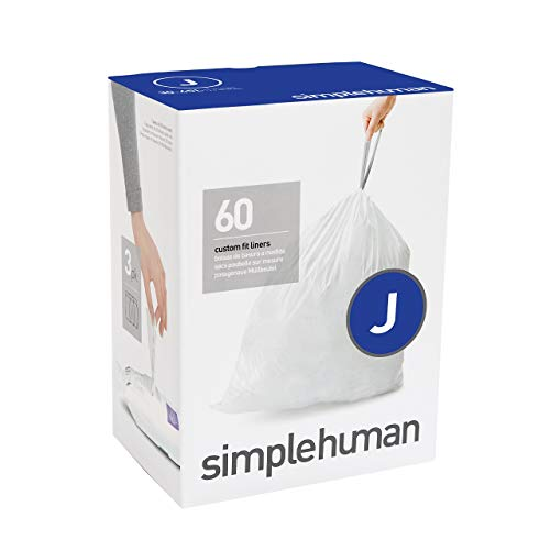 simplehuman Code J Custom Fit Drawstring Trash Bags, 30-45 Liter / 8-12 Gallon, 3 Refill Packs (60 Count)